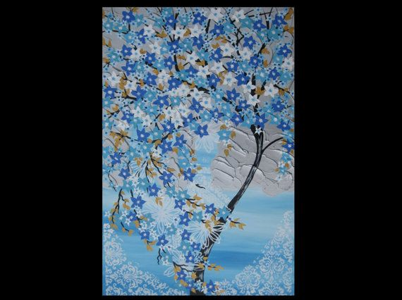 Sale Cherry Blossom Painting In Turquoise Blue And White Art Etsy Cherry Blossom Painting White Art Tree Of Life Painting
