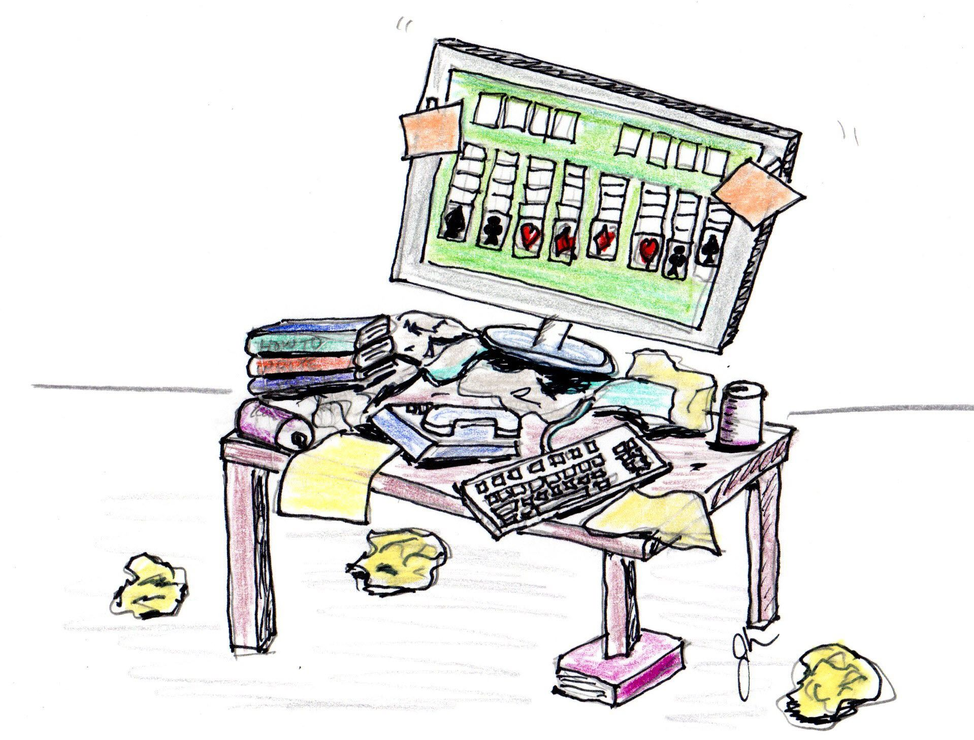 Image result for cluttered work space cartoon png