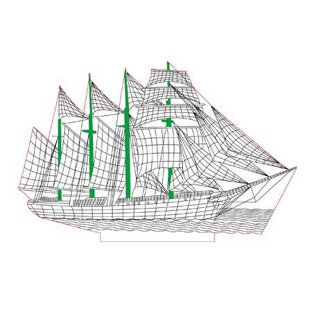 Sailing Vessel 3d Illusion Lamp Plan Vector File For Cnc 3bee Studio Lampada Led Luminarias Led Luminaria 3d