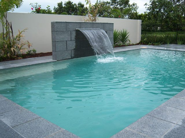 pool water feature - Rectangle Pool With Water Feature
