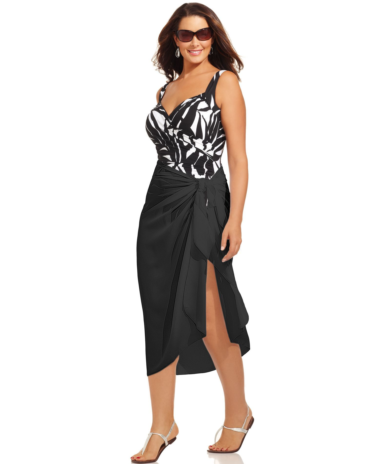 1132a64659 Dotti Plus Size Cover Up, Self-Tie Pareo Sarong | Products | Plus ...