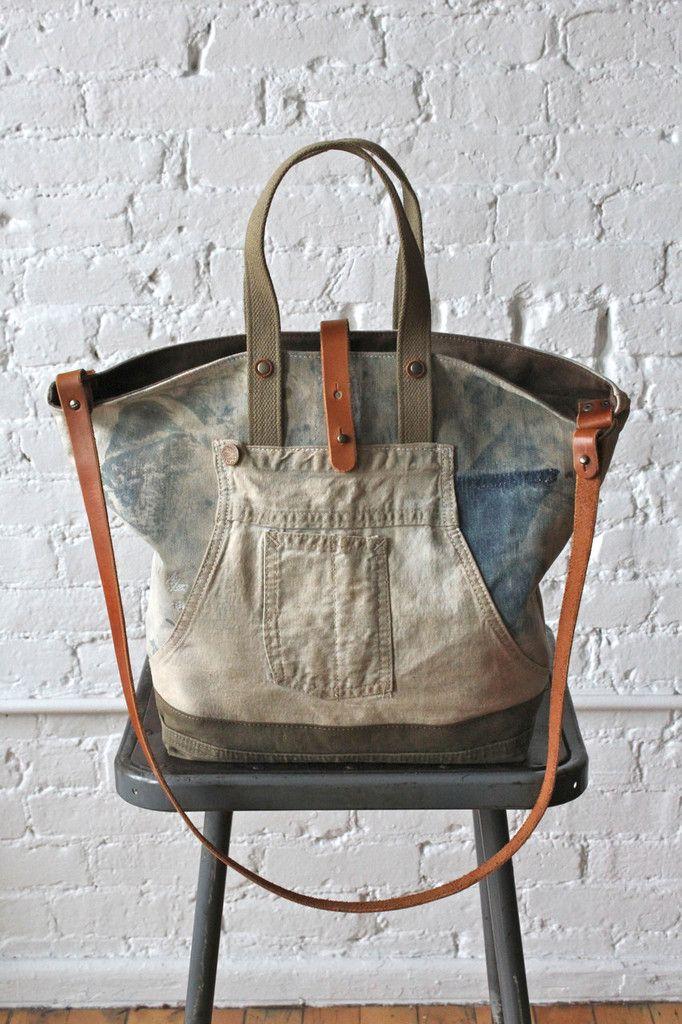 5316654e9c99 1930 s era Denim Work Apron and Military Canvas Carryall. denim bag ...
