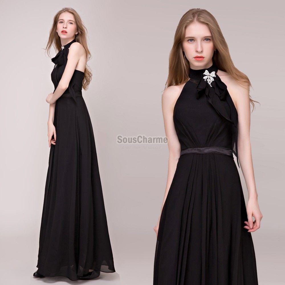 Robe noir col v en strass