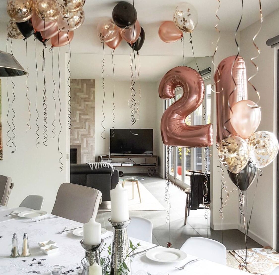 Rose Gold 21st Birthday Decor Set Jumbo 21 Big Number 21st Birthday Party Ideas 21st Birthday Gifts For Her 21st Birthday Balloon Kit In 2021 21st Birthday Balloons