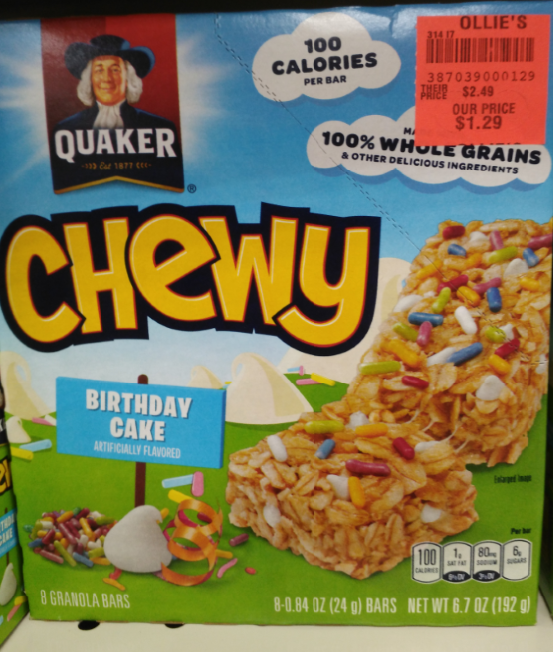 Quaker Chewy Birthday Cake Granola Bar