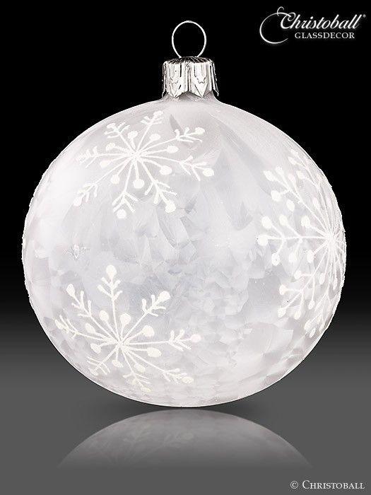 Weihnachtskugeln Weiß Silber.Schneeflöckchen Christbaumkugeln Weiss Frosteffekt Christmas In