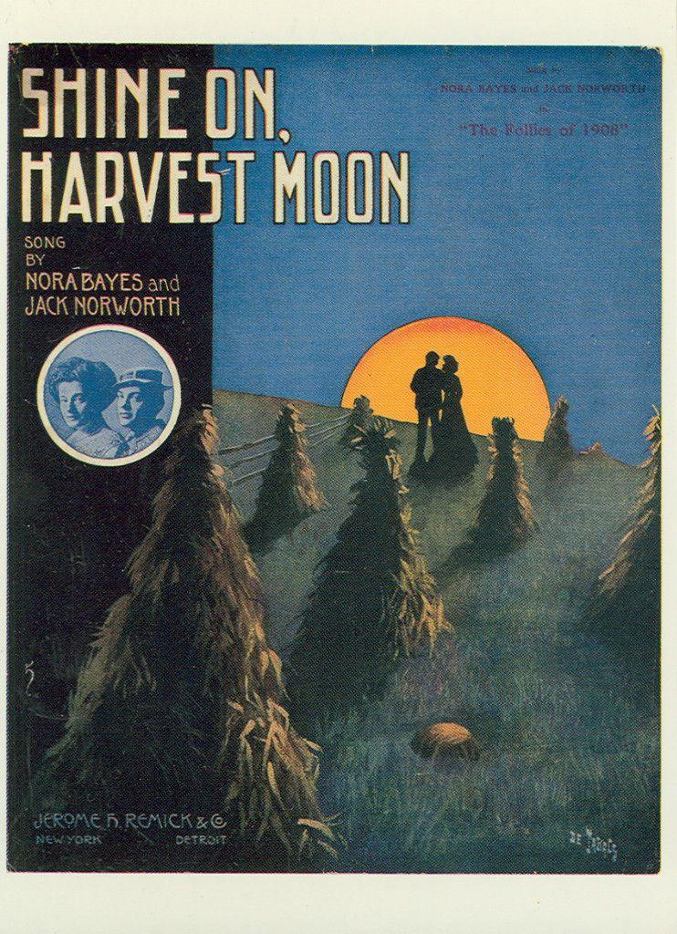 SHINE ON HARVEST MOON N. BAYES & J NORWORTH ON POSTCARD 1988