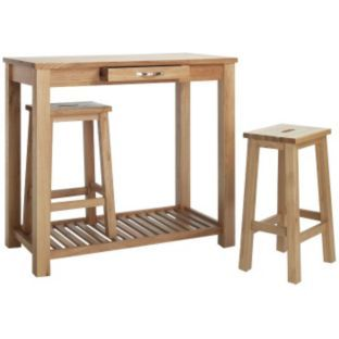 Buy Harvey Compact Oak Breakfast Table And 2 Stools At Argos.co.uk