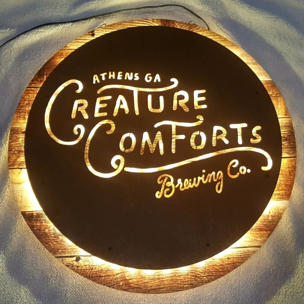 Creature Comforts Brewing Lighted Beer Sign Wood Metal Hanging Bar ...