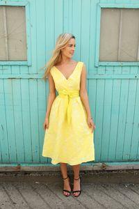 Lemon Baroque V Neck Skater Dress With Belt