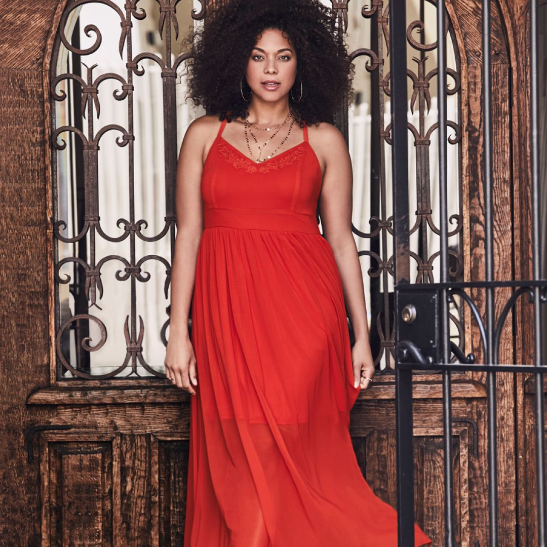 b6c359d64c8 Orange Embroidered Chiffon Maxi Dress - Tonal floral embroidered trims the  neckline of a gorgeous sunset hued maxi dress that s whisper-light and has  extra ...