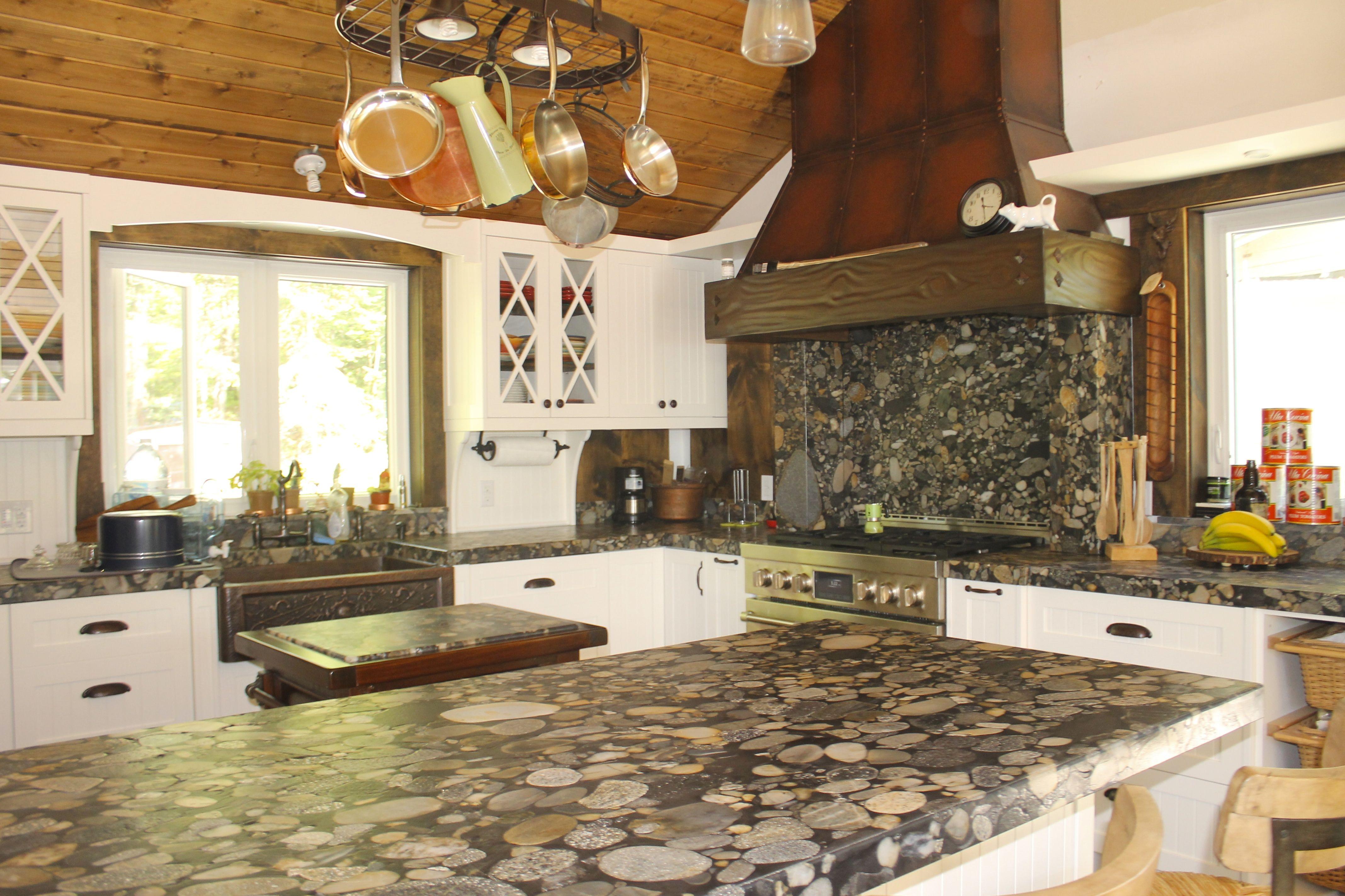 Cottage Kitchen Counters In Brazilian River Rock Granite Called Black Maranaci Kitchen Has A Copp Cottage Kitchen Counters Kitchen Remodel Kitchen Countertops