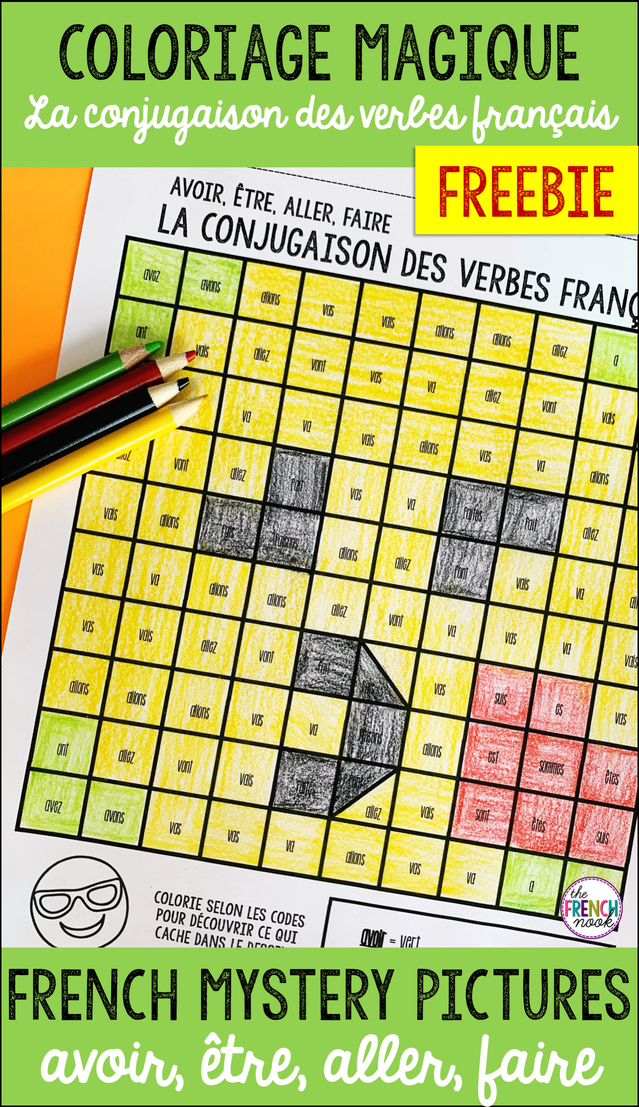 French Verbs Colour By Code Avoir Etre Aller Faire