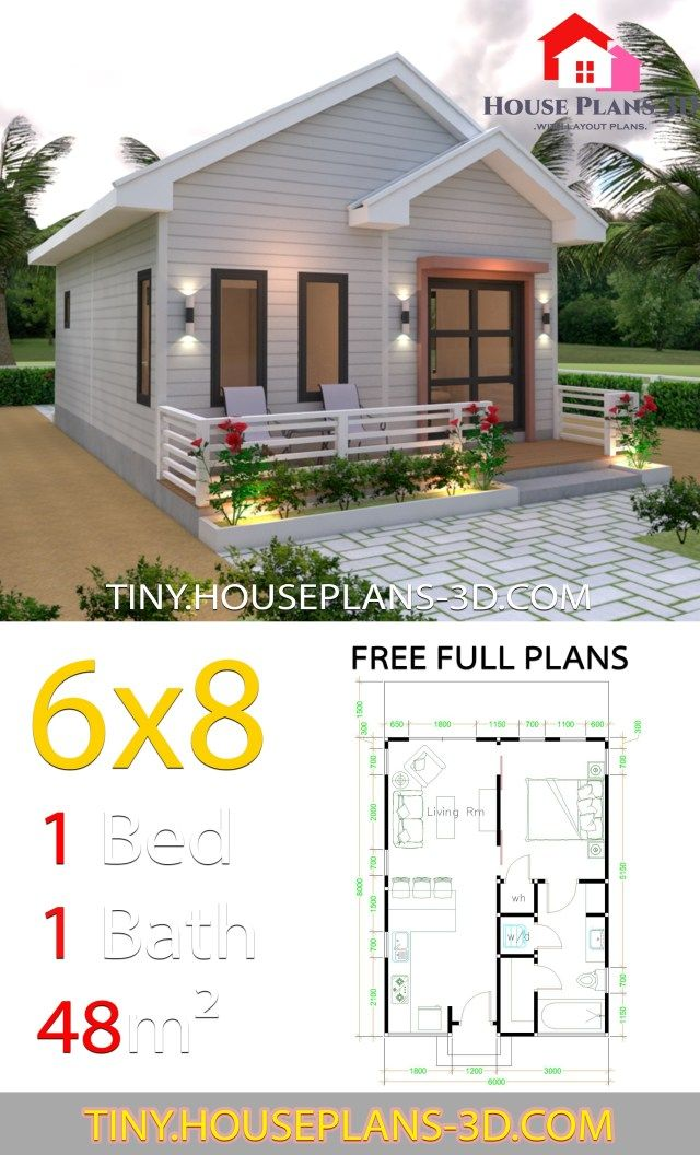 Studio House Plans 6x8 Gable Roof Tiny House Plans Simple House Plans Tiny House Plans Tiny House Design