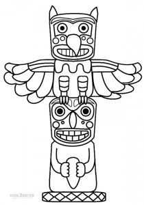 totem pole coloring pages printable - Totem Pole Animals Coloring Pages