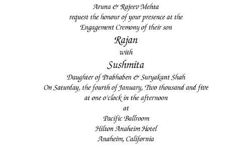 Engagement Wording  Engagement Invitation Format