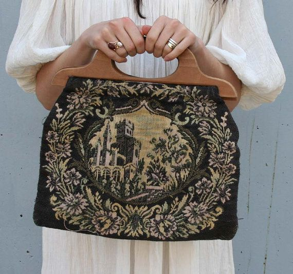 1940s Knitting Bag Fairytale Castle Tapestry Wood Handle Purse Knitted Bags Knitting Vintage Knitting