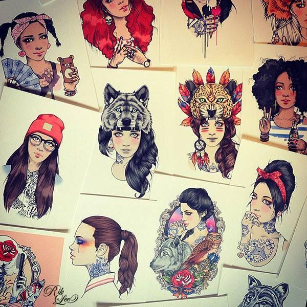 Las Caras Bonitas De Rik Lee Ilustracion Ilustraciones Cara Bonita Dibujos
