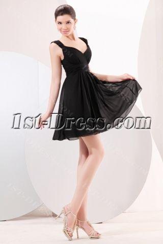 #Cute Chiffon Little Black Homecoming Dress:1st-dress.com