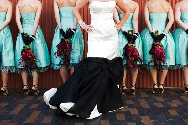 Turquoise and Black Wedding Dresses