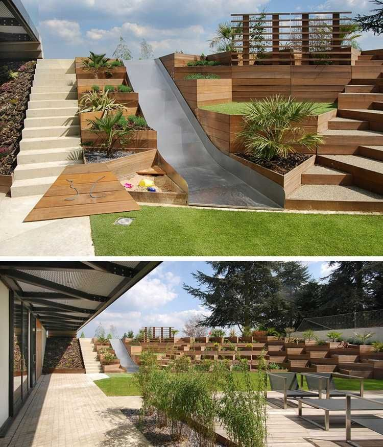 Garten am hang  terrasse am hang metall-rutsche-stufen-holz-gestaltung | Garten ...