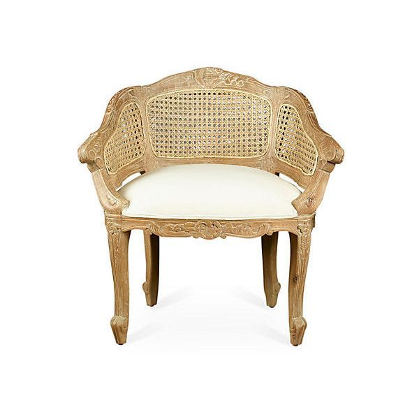 Wicker Back Slipper Chair Pickled Accent & Occasional Chairs ($429) ❤ liked on Polyvore featuring home, furniture, chairs, accent chairs, wicker furniture and wicker chairs