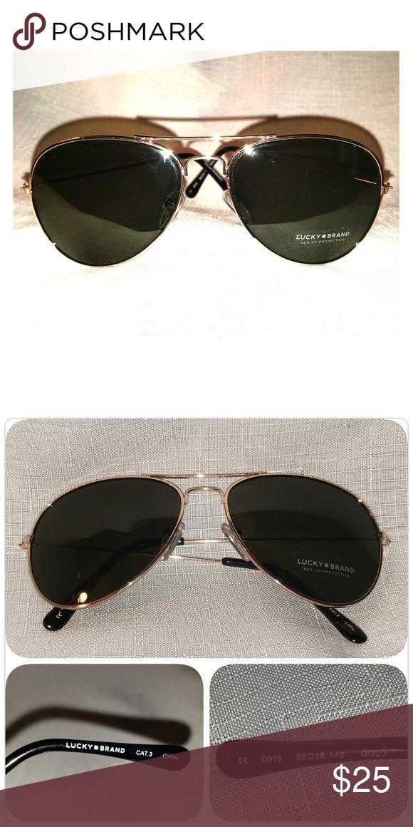 29b8322f0e3 Lucky Brand Aviator Sunglasses Lucky Brand Aviator Sunglasses with gold  metal frame Lucky Brand Accessories Sunglasses