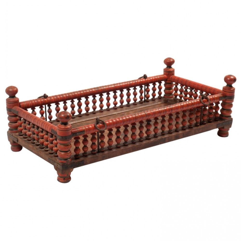 Swinging Baby Cradle From South India Made Of Hardwood Planks And Turned Wood Posts With Natural