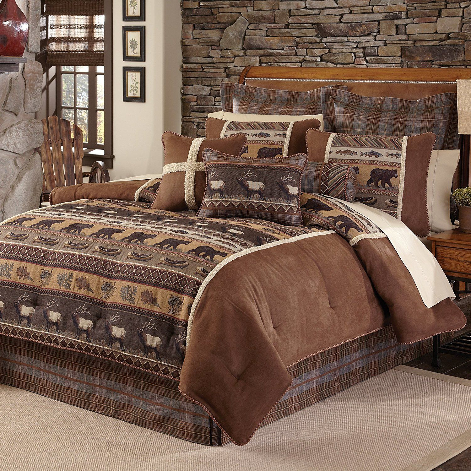 4 Piece Brown Cabin Themed Comforter King Cal King Set Lodge