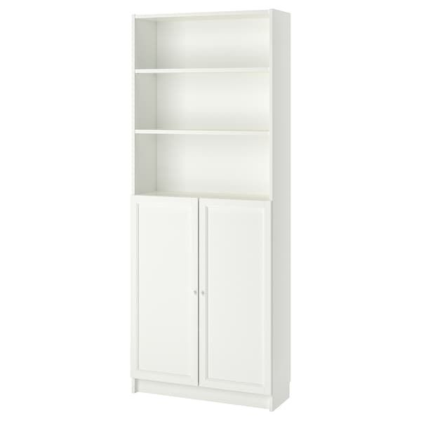 Ante Per Libreria Billy.Billy Oxberg Libreria Con Ante Bianco 80x30x202 Cm Ikea It Billy Bookcase Glass Cabinet Doors Bookcase