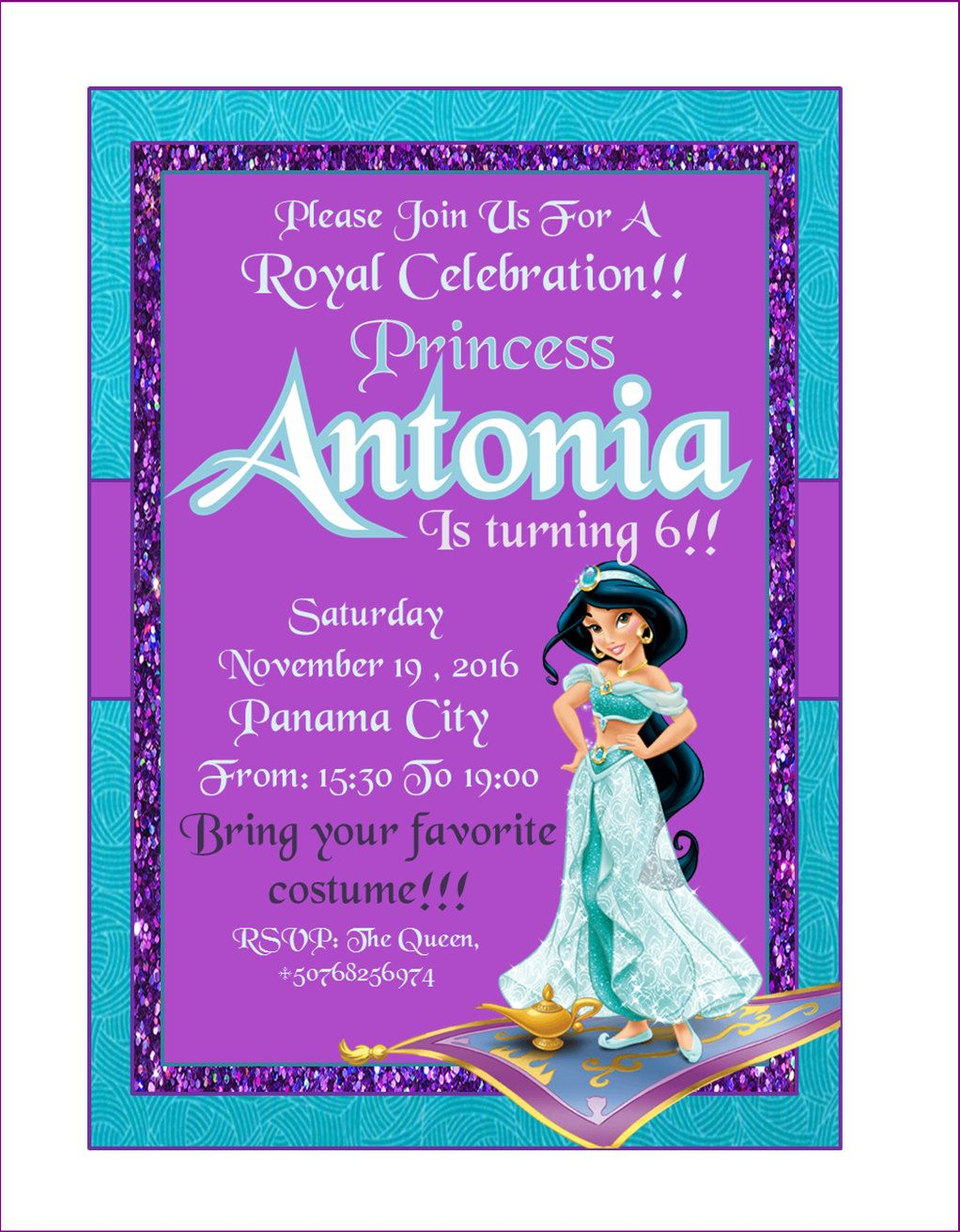 Invitaci n cumplea os princesa jazm n ideal para el - Invitacion para cumpleanos ...