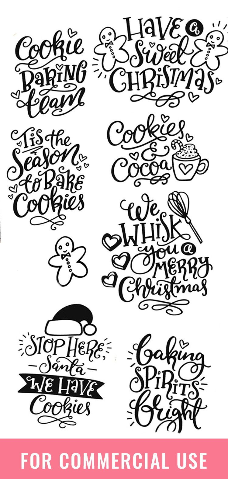 Christmas Baking SVG Bundle! 7 Cute Holiday Quote Designs (7