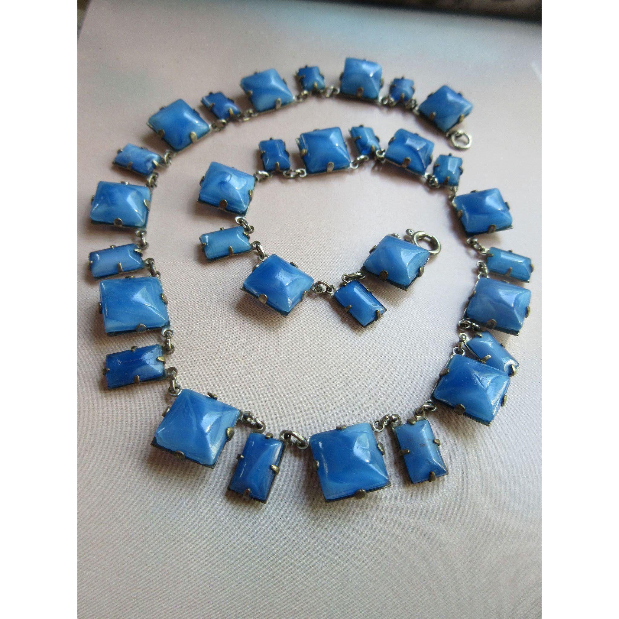 chalcedony polished and blue art copper copy green gemstone fire glass of faceted necklace with img products