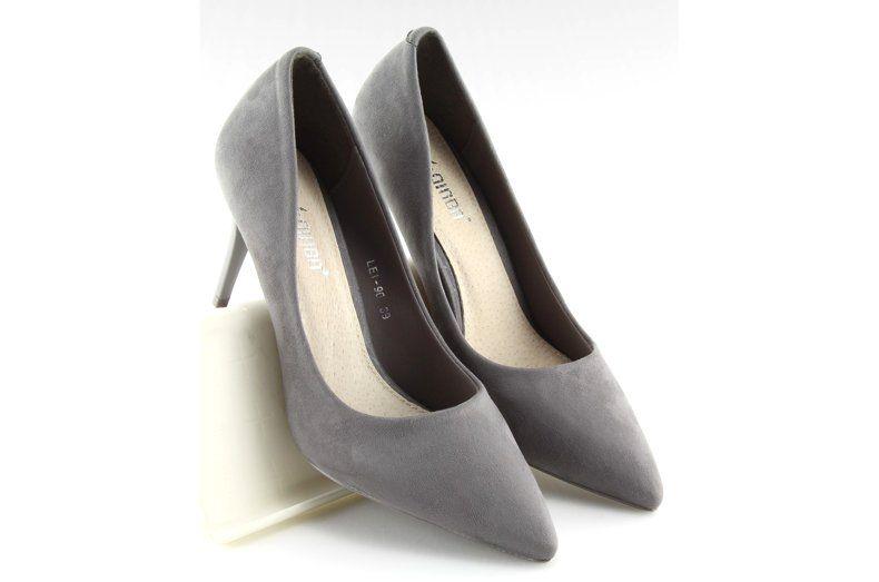 Zamszowe Szpilki Candy Shop Szare Lei 90 D Grey Heels Shoes Pumps