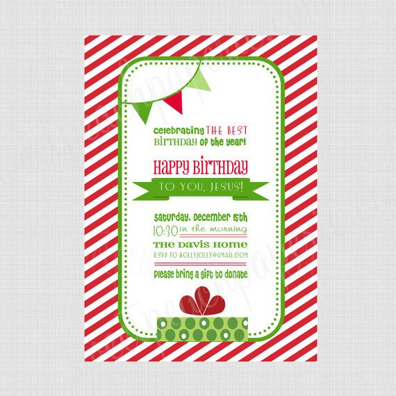 Happy Birthday Jesus Printable Invitation by sweetpeachpaperie – Happy Birthday Jesus Invitations