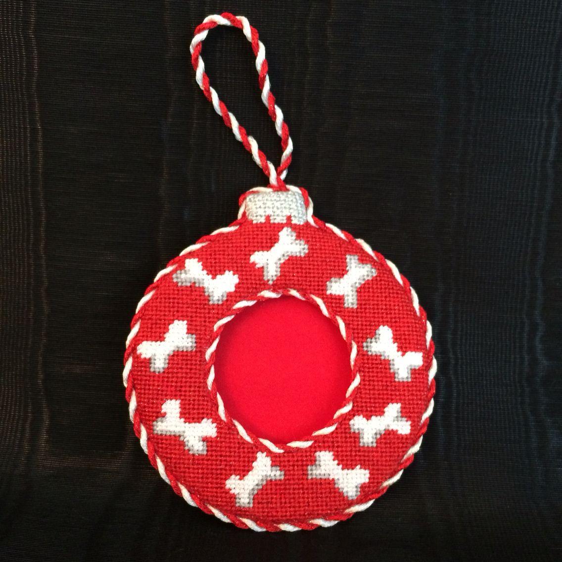Finishing of doggy bone ornament frame | Christmas Needlepoint ...