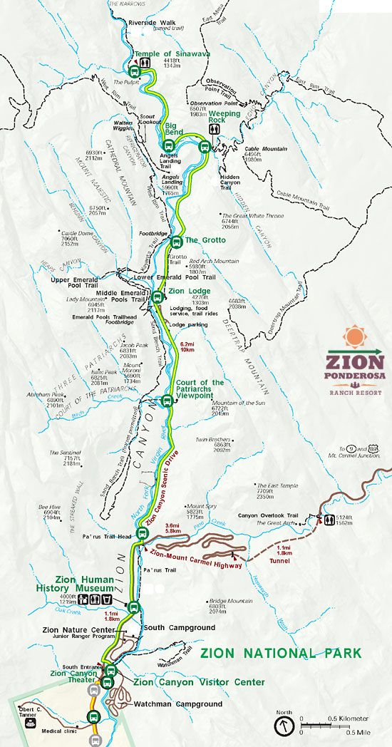 Zion National Park Map - Main Canyon | Utah, My Home! in ...