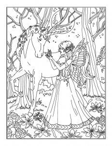 Eine Malvorlage Mit Einer Elfe Und Ihrem Einhorn Im Wald Das