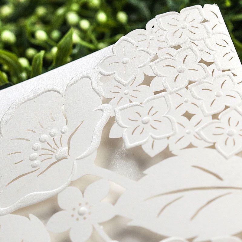 Cream Cut Flower Bridal Wedding Invitations Supplies DIY Craft Card ...