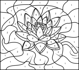Challenging Color by Number Pages | Water Lily - Printable Color by Number Page - Hard