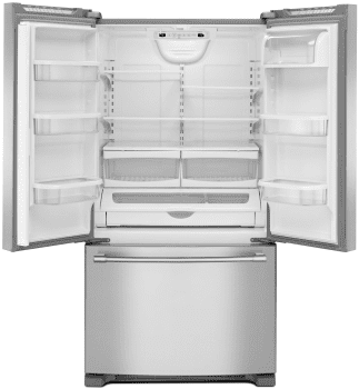 Maytag Mfc2062fez 36 Inch Counter Depth French Door Refrigerator With Powercold Feature Internal Water Dispenser Temperature Controlled Drawer Adjustable She French Door Refrigerator French Doors Counter Depth French Door Refrigerator