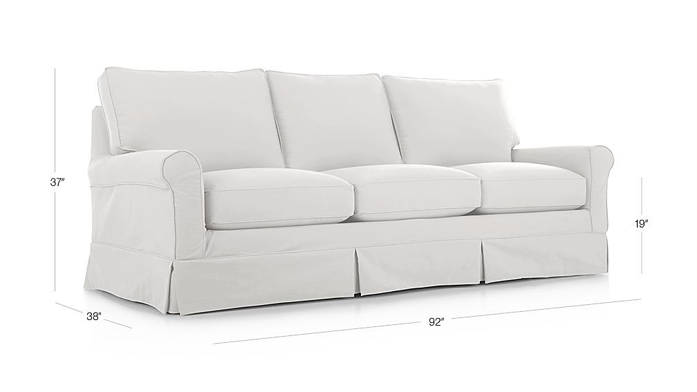 Harborside Slipcovered 3 Seat Sofa Optic White Crate And