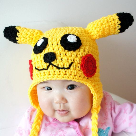 Pikachu Hat Pokemon Crochet Baby Hat Baby Hat Animal Hat Yellow