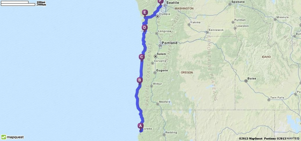 Driving Directions From Eureka California To Bremerton - Mapquest california