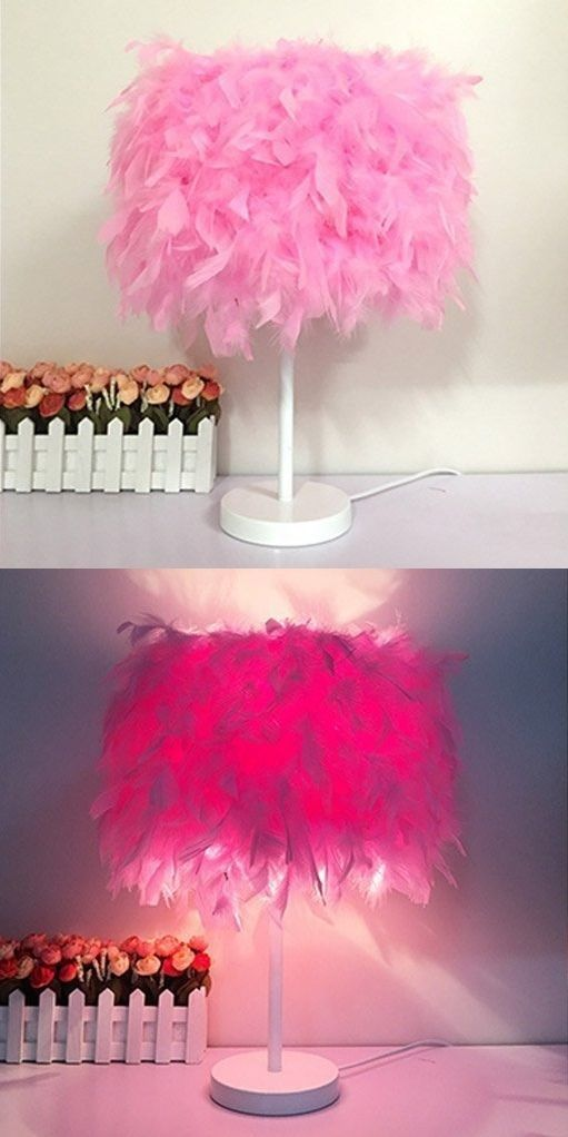 Pink Bedside Table: Pink Feather Bedside Table Lamp
