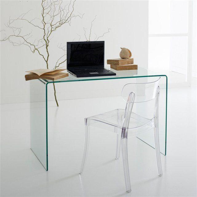 en verre tremp transparent le bureau console joan adopte un style d finitivement moderne et. Black Bedroom Furniture Sets. Home Design Ideas