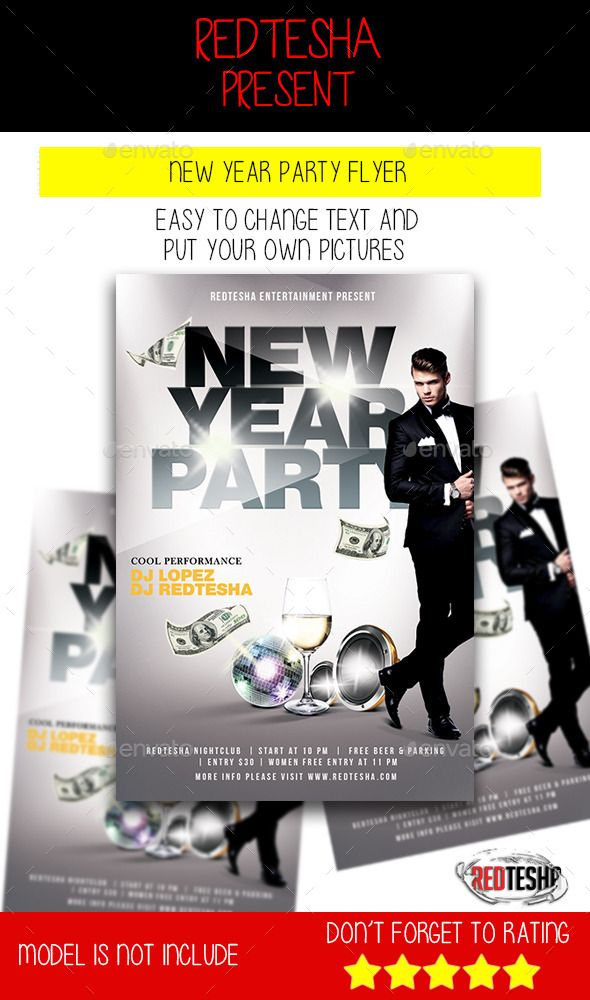 Do you need simple flyer for your New Year party? Do you need lux ...