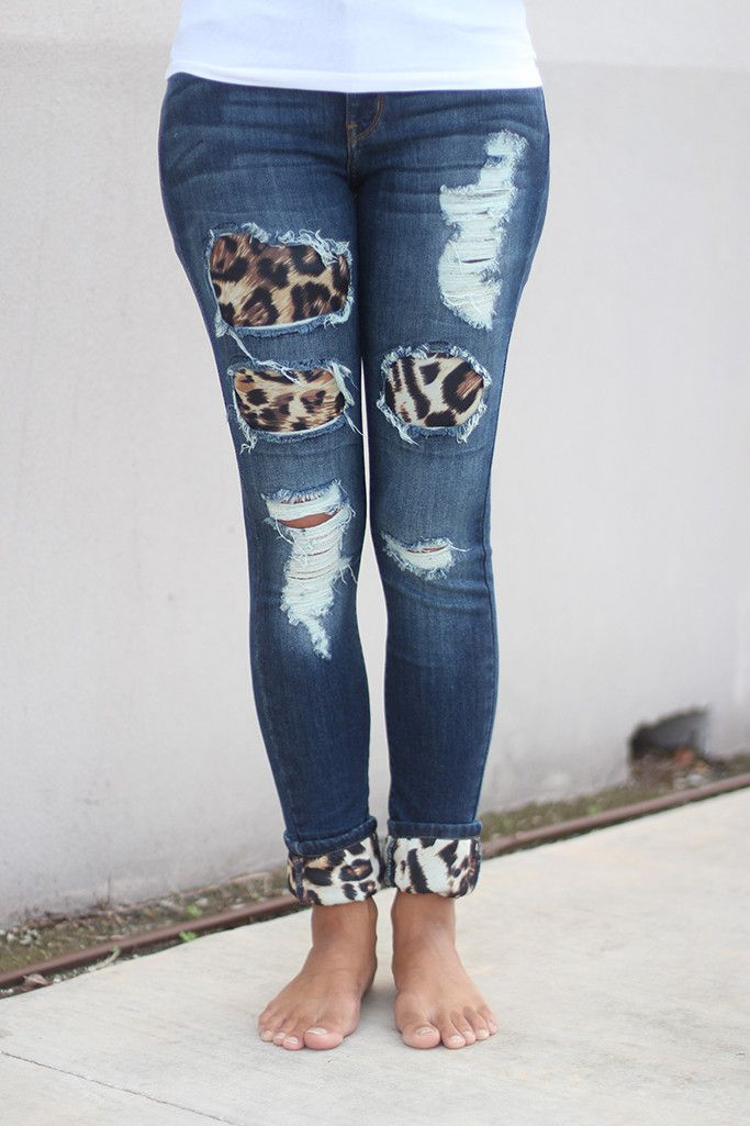 842340615b4 Denim Jeans With Leopard Patches | ... but clothes, shoes, and ...