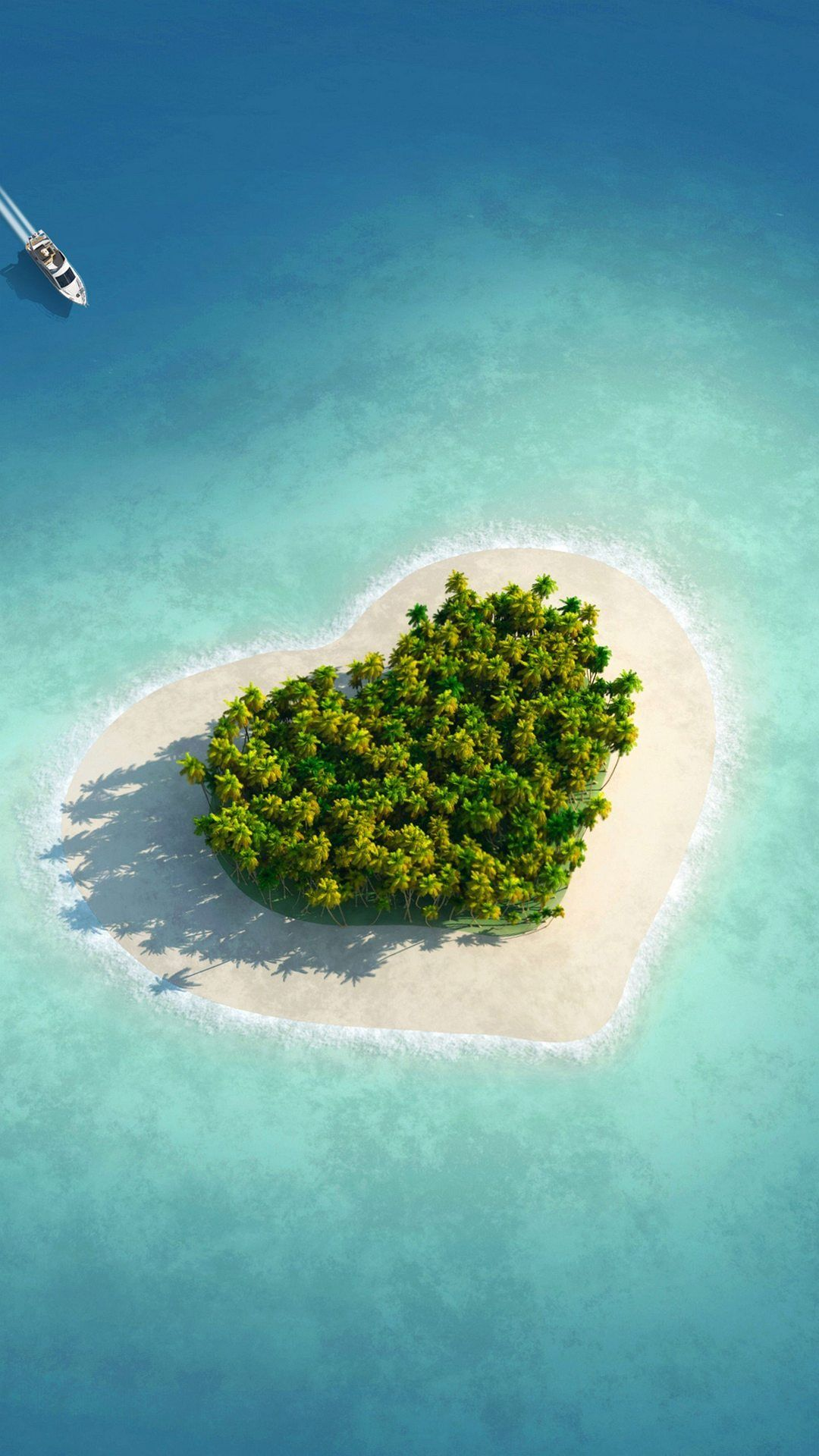 ハート型の綺麗な小さな島 ビーチの壁紙 美しい場所 綺麗な海