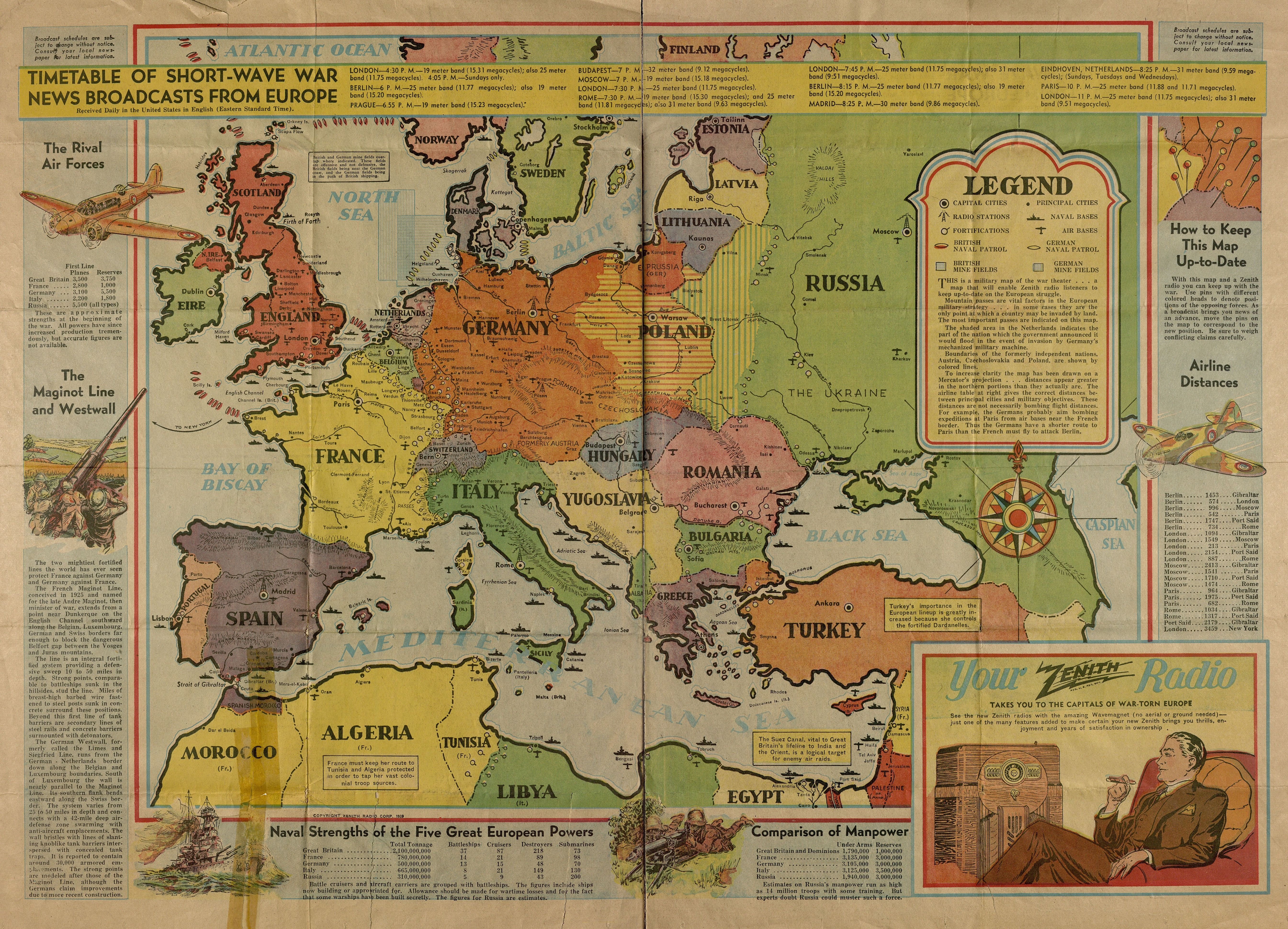 1939 War map of Europe Zenith radio